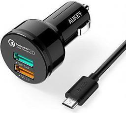 Ładowarka Aukey 2xUSB 2.0, 4.8A, 30W, kabel micro USB 1m (CC-T1)
