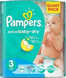 Pampers Pieluchy Active-Baby Dry 3 Midi 90 SZT