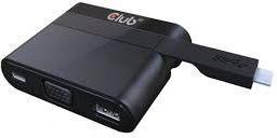 Adapter USB Club 3D USB-C - USB-A + VGA + USB-C Czarny (CSV-1532)