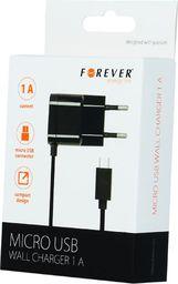Ładowarka Forever Ład. siec. Forever micro USB 1A czarna new shell - GSM020147