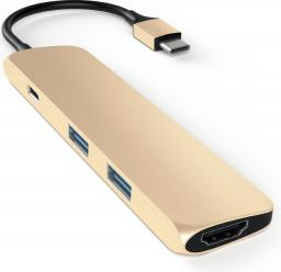 Stacja/replikator Satechi USB-C - 2x USB-A + USB-C + HDMI Złoty (ST-CMAG)