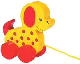 Goki Drewniana zabawka na sznurku, pies (54992)
