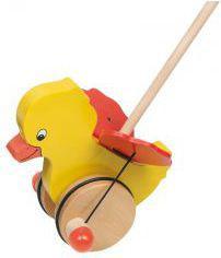 Goki Drewniana zabawka do pchania, kaczka Tweedy (54990)