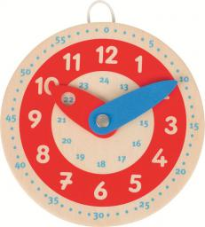 Goki Drewniany zegar, czerwona tarcza (58485)