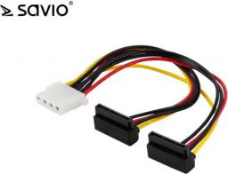 Elmak Kabel zasilający / adapter Molex 4pin - 2 x SATA 15pin kątowy (SAVIO AK-12)
