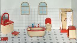 Goki Mebelki do łazienki z czerownymi akcentami, 7 elementów (51959)