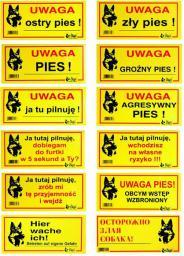 Dingo Tabliczka ostrzegawcza metalowa  -  język rosyjski