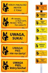 """Dingo Tabliczka ostrzegawcza PCV  - """"Ma ogonek, cztery łapy, mieszka tutaj pies kudłaty"""""""