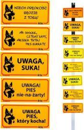 """Dingo Tabliczka ostrzegawcza PCV  - """"Uwaga, pies który kocha"""""""