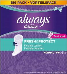 Always Dailies Fresh&Protect Normal Fresh Wkładki higieniczne 58 szt.