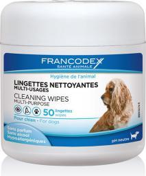 FRANCODEX Chusteczki do czyszczenia oczu, uszu, łap psów 50 szt