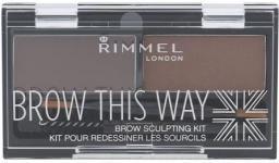 Rimmel  Brow This Way Scuplting Kit Cień do brwi 002 Medium Brown 2.4g