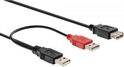Kabel USB InLine 2xUSB A -> USB A (M/Ż) Czarny 2m (34512Z)