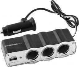 Esperanza Samochodowy rozdzielacz 3 gniazda zapalniczki z  1 portem USB (EZ124)