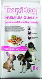 TropiDog Indyk z ryżem TropiDog Premium Junior Small & Medium Breeds 8kg