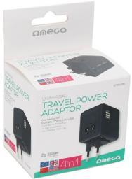 Omega Adapter podróżny 4 w 1 220-250V + 2 x USB