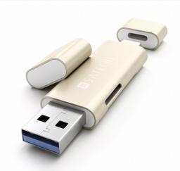 Czytnik Satechi Aluminiowy Type-C USB 3.0 Micro/SD Reader, złoty (ST-TCCRAG)