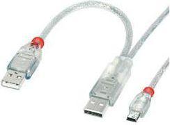 Kabel USB LINDY 2x USB A -> Mini USB Przezroczysty 1m (31784)