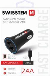 Ładowarka Swissten samochodowa, micro USB, 12V, 5V, 2400mA, do ładowania telefonów komórkowych i GPS (20110900)