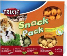 Trixie Zestaw Snacków dla małych zwierząt, 4 × 35 g (Dropsy owoce lasu, witaminowe z wrzywami, wit. z marchwią, z mleikiem & miodem)