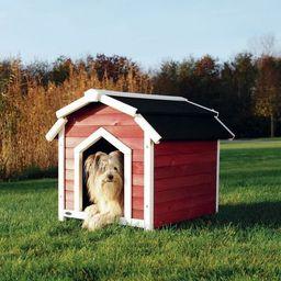 Buda dla psa Country, S–M: 71 × 69 × 75 cm, czerwono/biała