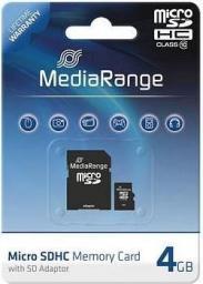 Karta MediaRange MicroSD 4 GB Class 10  (MR956)