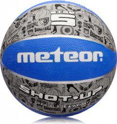Meteor Piłka do koszykówki SHOT-UP #5 PRINT szaro-niebieska (07073)