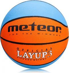 Meteor Piłka Koszowa LAYUP #3 niebiesko-pomarańczowa (07067)