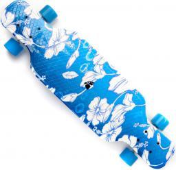 Deskorolka Meteor Plastikowa Longboard Multikolor niebieska w białe kwiaty PP 31