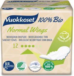 Vuokkoset Podpaski ze Skrzydełkami Normal 100% Bio, 12szt.