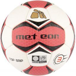 Meteor Piłka Ręczna TOP GRIP biało czerwona #3 (04074)