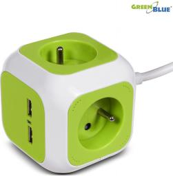 GreenBlue MagicCube poczwórne gniazdko prądowe, 2 wejścia usb 1,4m GB118 (MCE118)