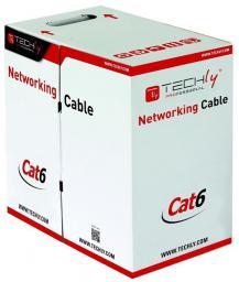 Techly Kabel instalacyjny skrętka, UTP, Cat6, drut, CCA, 305m, szary (022823)