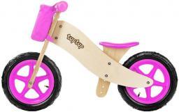 TupTup Drewniany rowerek biegowy z koszyczkiem PINK (TT00002)