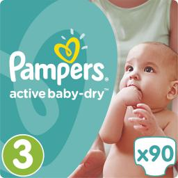 Pampers Pampers Active Baby-Dry rozmiar 3 (Midi), 90 pieluszek