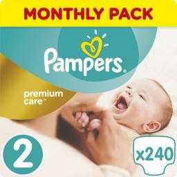 Pampers Premium Care Rozmiar 2 (Mini), 3–6kg, 240 Pieluszki