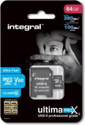 Karta Integral MicroSDXC 64GB UHS-II V60 (INMSDX64G-280/100U2)