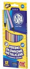 Astra Kredki 12 kolorów okrągłe metaliczne