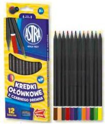 Astra Kredki ołówkowe 12 kolorów z czarnego drewna - WIKR-943058