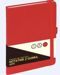 KW Trade Notatnik GRAND z gumką czerwony A5/80 kartek kratka - WIKR-1029874 (232365)