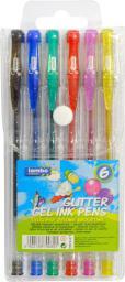 Lambo School Długopisy żelowe brokatowe 6 kolorów - WIKR-1014889