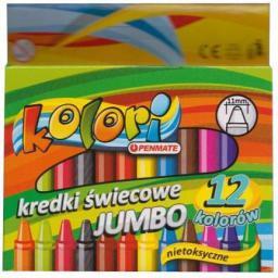 Penmate Kredki Ĺ›wiecowe Jumbo 12 kolorĂłw Kolori