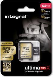 Karta MicroSD Integral micro SDHC C10 Ultima Pro X(INMSDX64G10-95/90U1)