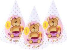 GODAN Czapeczki papierowe różowe  - Moje 1 urodziny - WIKR-1021849