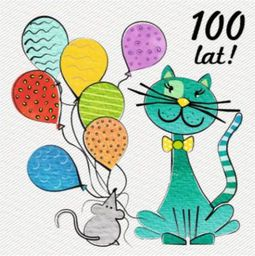 HENRY Karnet kwadrat urodzinowy Mysz i Kot