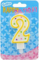 GoDan Świeczka urodzinowa cyferka 2 z kropeczkami
