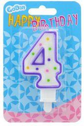 GODAN Świeczka urodzinowa cyferka 4 z kropeczkami