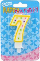 GODAN Świeczka urodzinowa cyferka 7 z kropeczkami