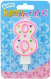 GODAN Świeczka urodzinowa cyferka 8 z kropeczkami