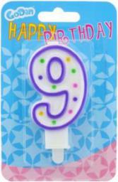 GoDan Świeczka urodzinowa cyferka 9 z kropeczkami